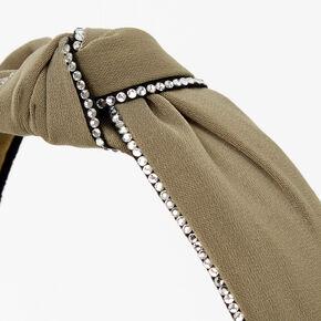 Rhinestone Trim Knotted Headband - Olive,