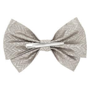 Glitter Chevron Hair Bow Clip - Silver,