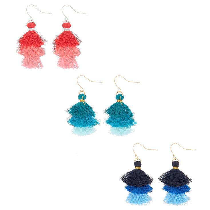 """1.5"""" Tiered Tassel Drop Earrings - 3 Pack,"""