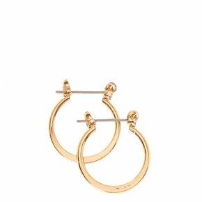 Mini Gold Tone Knife Edge Hoop Earrings,