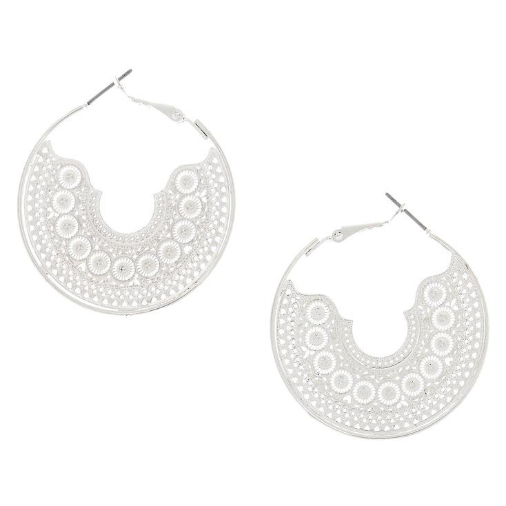 40MM Silver Filigree Hoop Earrings,