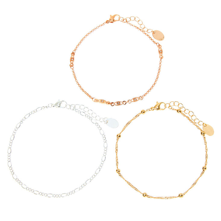 Mixed Metal Evil Eye Chain Anklets - 3 Pack,