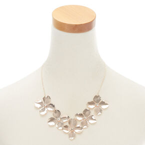 Rose Gold Large Flower Petal Statement Necklace,