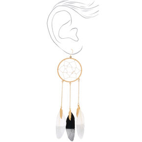 "Gold 5"" Feather Dreamcatcher Drop Earrings,"