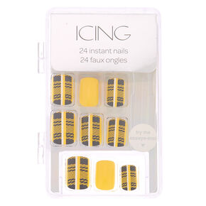 Plaid Faux Nail Set - Mustard, 24 Pack,