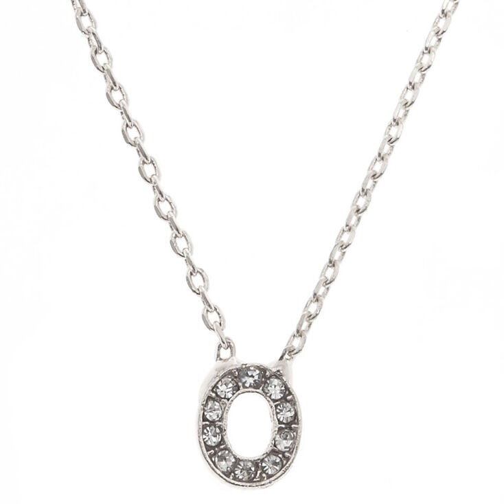 "Silver Studded ""O"" Initial Necklace,"