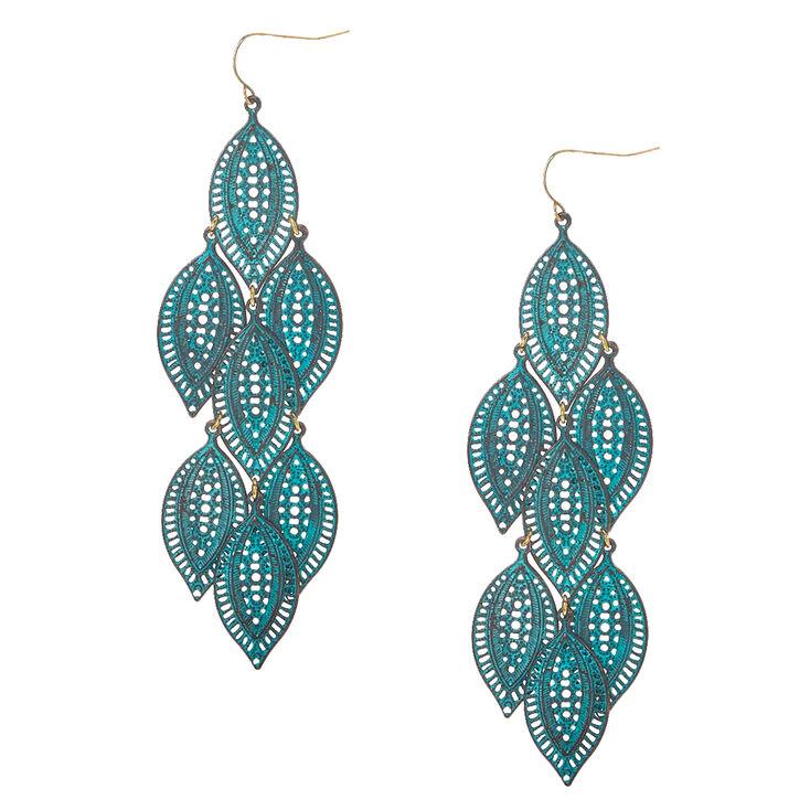 Filigree Patina Leaves Drop Earrings,
