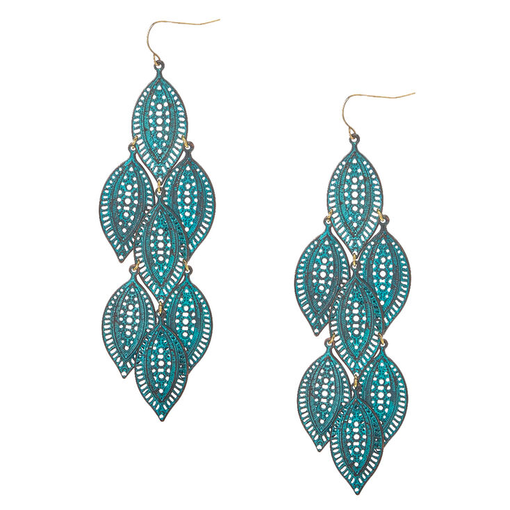 Filigree Patina Leaves Drop Earrings,