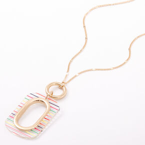 Gold Rainbow Striped Rectangle Long Pendant Necklace,