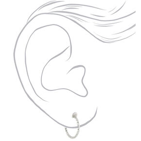 Silver 15MM Textured Clip On Hoop Earrings - 3 Pack,