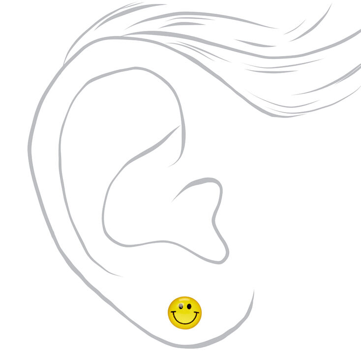 Sterling Silver Smiley Face Rainbow Stud Earrings - 2 Pack,