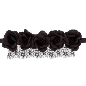 Flower Crown Lace Headwrap - Black,