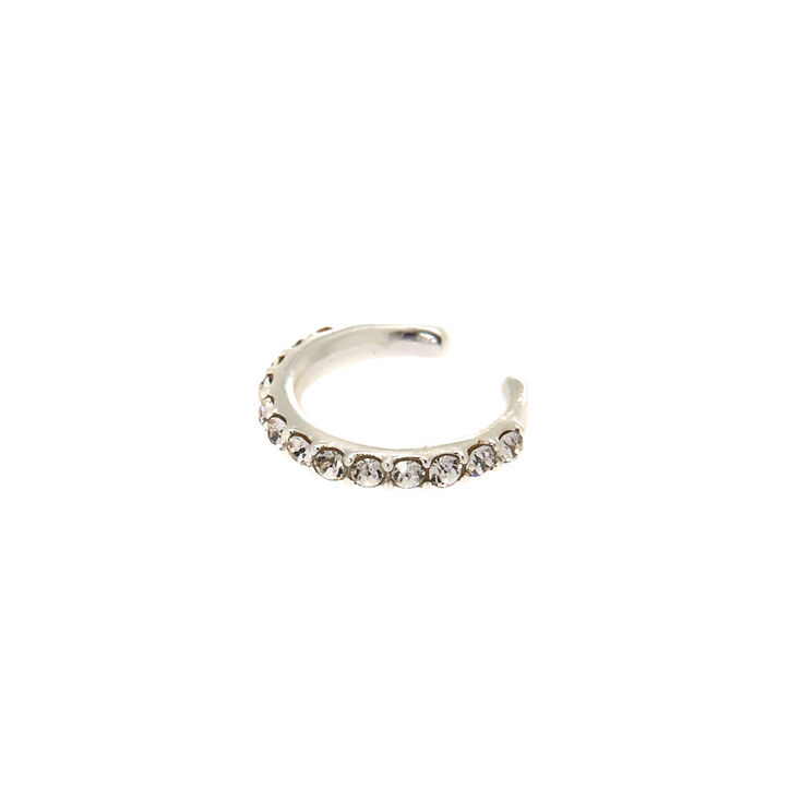 Sterling Silver Stone Band Ear Cuff,