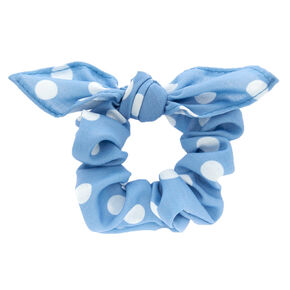 Polka Dot Knotted Bow Hair Scrunchie - Blue,