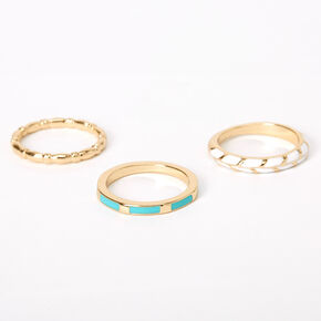 Gold Turquoise & White Vine Rings - 3 Pack,