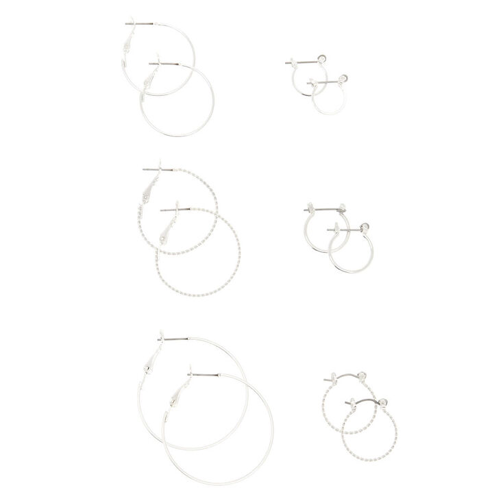 6 Pack Silver-Tone Hoop Earrings Set,