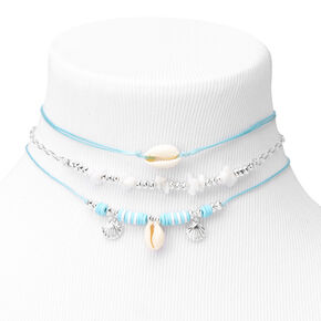 Silver & Blue Seashells Choker Necklaces - 3 Pack,