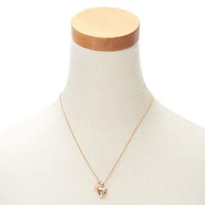 Gold Engraved Heart Locket Pendant Necklace,
