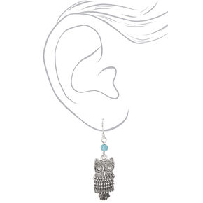 "Silver 1.5"" Beaded Owl Drop Earrings - Turquoise,"