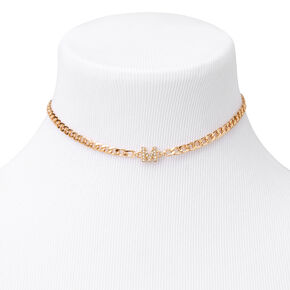 Gold Embellished Initial Chain Choker Necklace - M,
