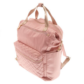 Quilted Double Handle Backpack - Pink,