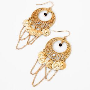 Gold Coin Charm Drop Earrings,