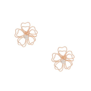 Rose Gold Wire Flower Stud Earrings,