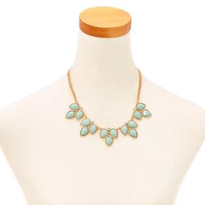 3 Leaf Mint Enamel Gem Necklace & Earrings Set,