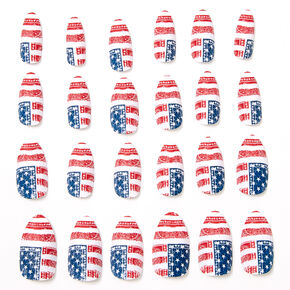 American Flag Paisley Bandana Stiletto Press On Faux Nail Set - 24 Pack,