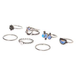 Silver Western Mystic Rings - Blue, 7 Pack,