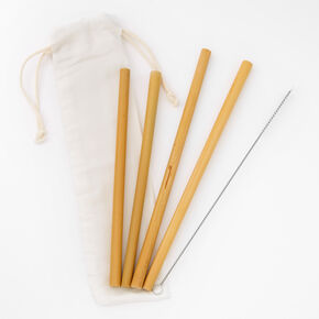 Bamboo Straws and Pouch Set - 4 Pack,