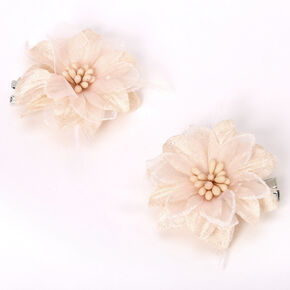 Lily Flower Hair Clips - Cream, 2 Pack,