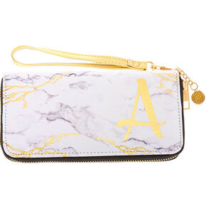 Marble Initial Wristlet - A,