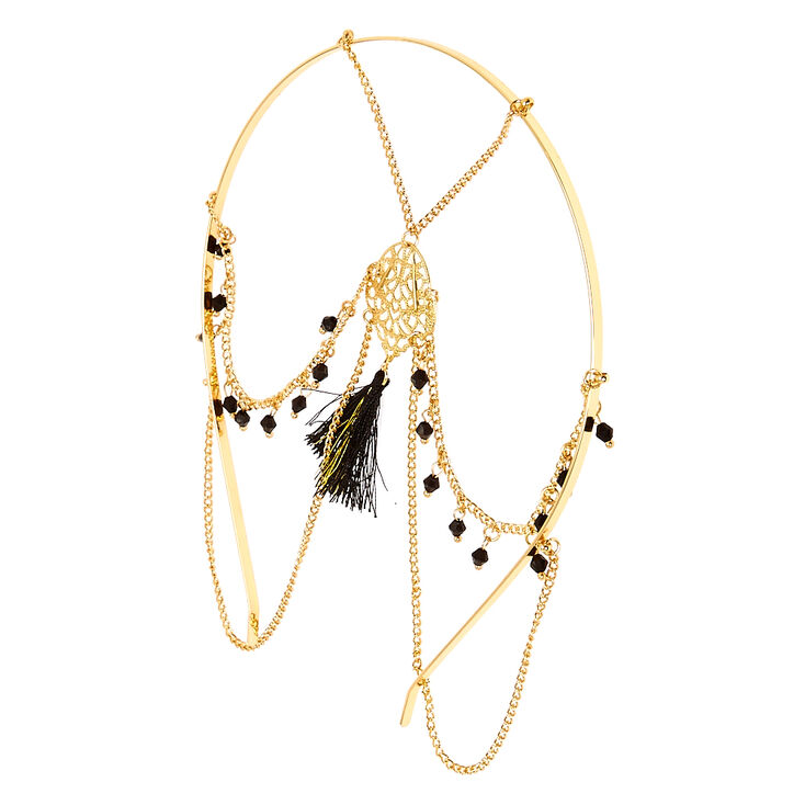 Gold And Black Beaded Head Chain,