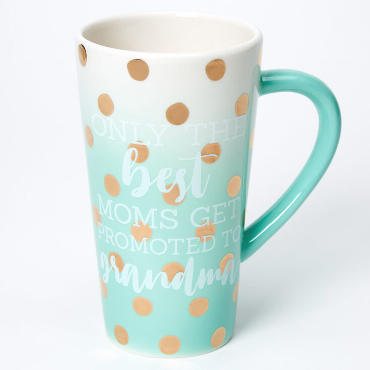 Promoted To Grandma Ombre Polka Dot Ceramic Mug - Mint,