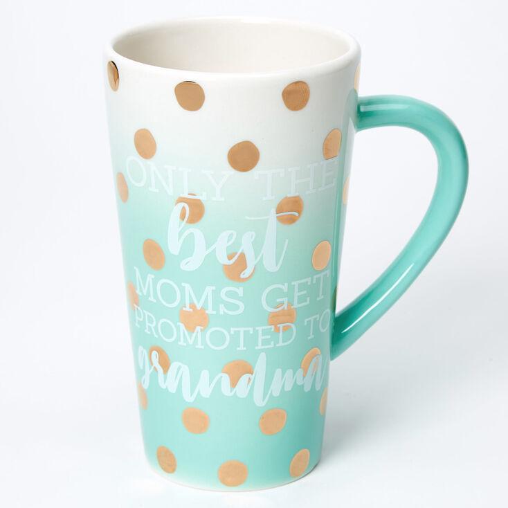 Promoted To Grandma Ombre Polka Dot Ceramic Mug - Mint,