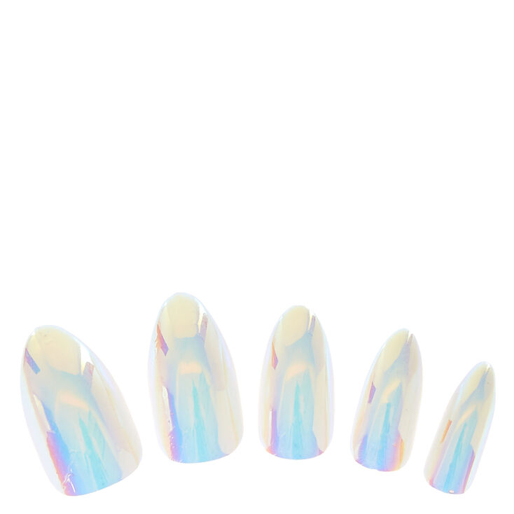 Iridescent Stiletto Faux Nail Set - White, 24 Pack,