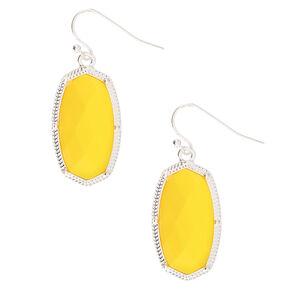 """Silver 1.5"""" Neon Stone Drop Earrings - Yellow,"""
