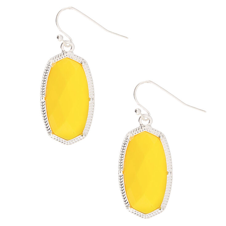 "Silver 1.5"" Neon Stone Drop Earrings - Yellow,"