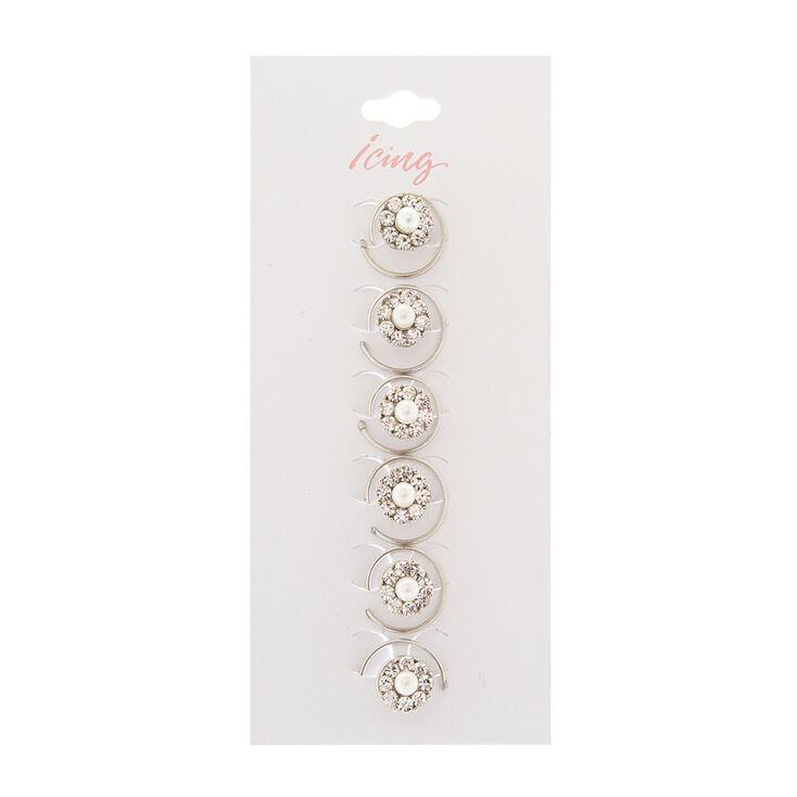 Rhinestone & Pearl Flower Hair Jewels Set of 6,