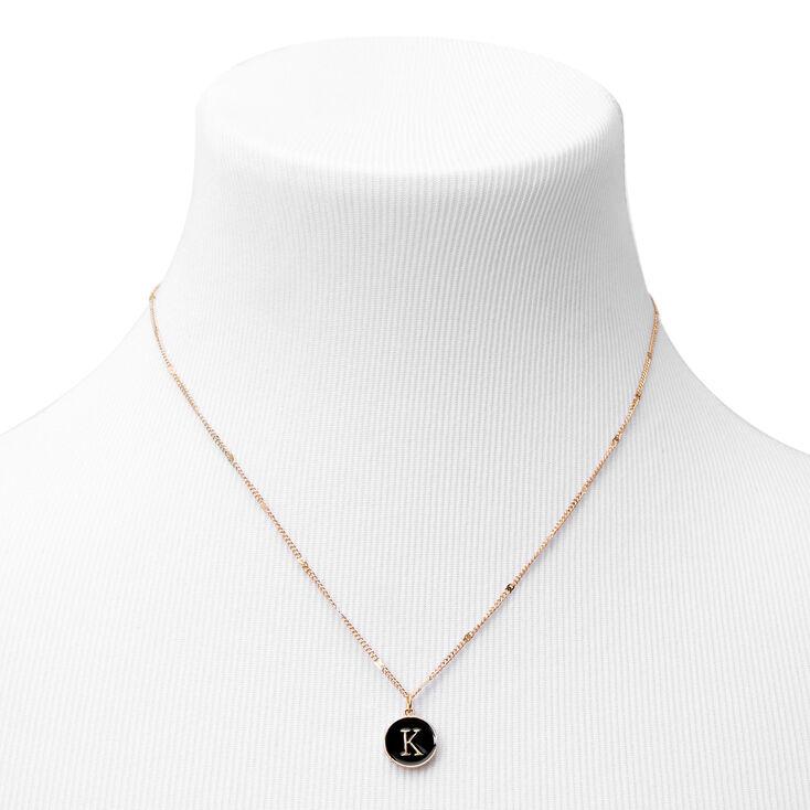 Gold Enamel Initial Pendant Necklace - Black, K,