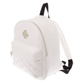 a3f2f0b3313 Faux Leather Quilted Midi Backpack - White