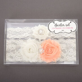 Lace Bridal Garters with Vintage Flowers - White, 2 Pack,