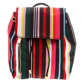 Rainbow Striped Drawstring Midi Backpack,