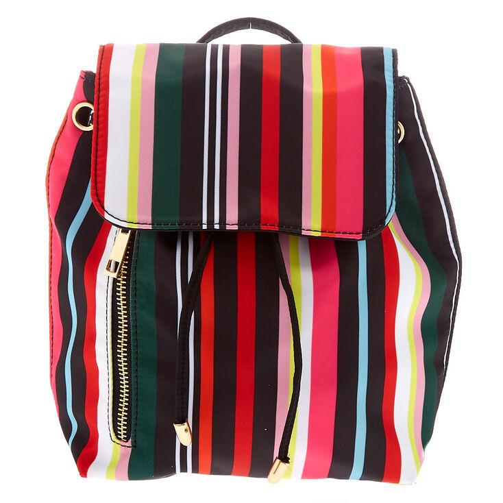 Rainbow Striped Drawstring Midi Backpack,