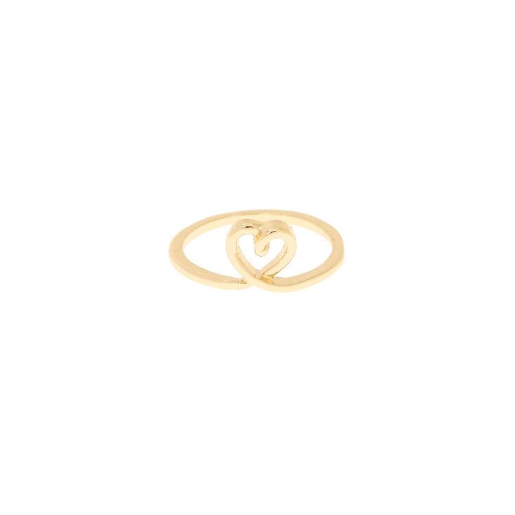 Gold Heart Midi Ring,