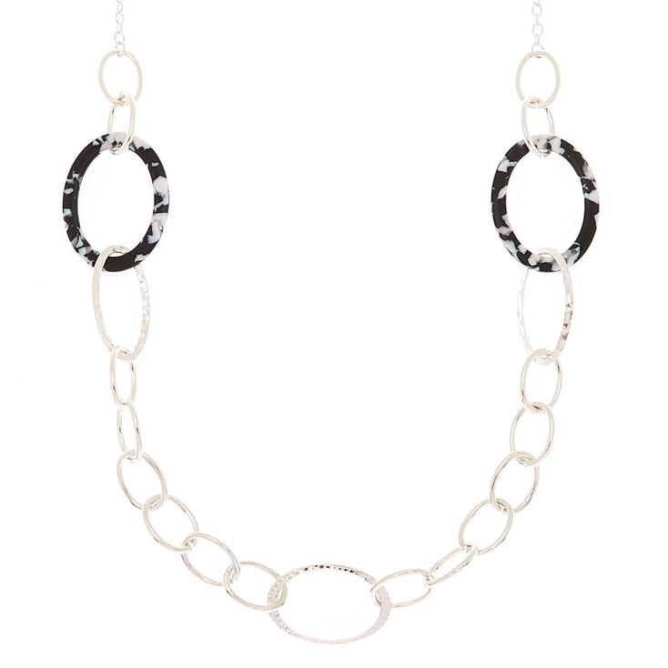 Silver Resin Link Long Necklace - Black,