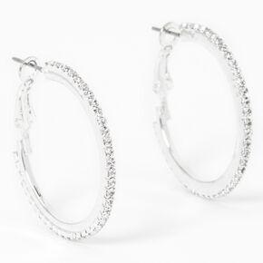 Silver 30MM Embellished Hoop Earrings,