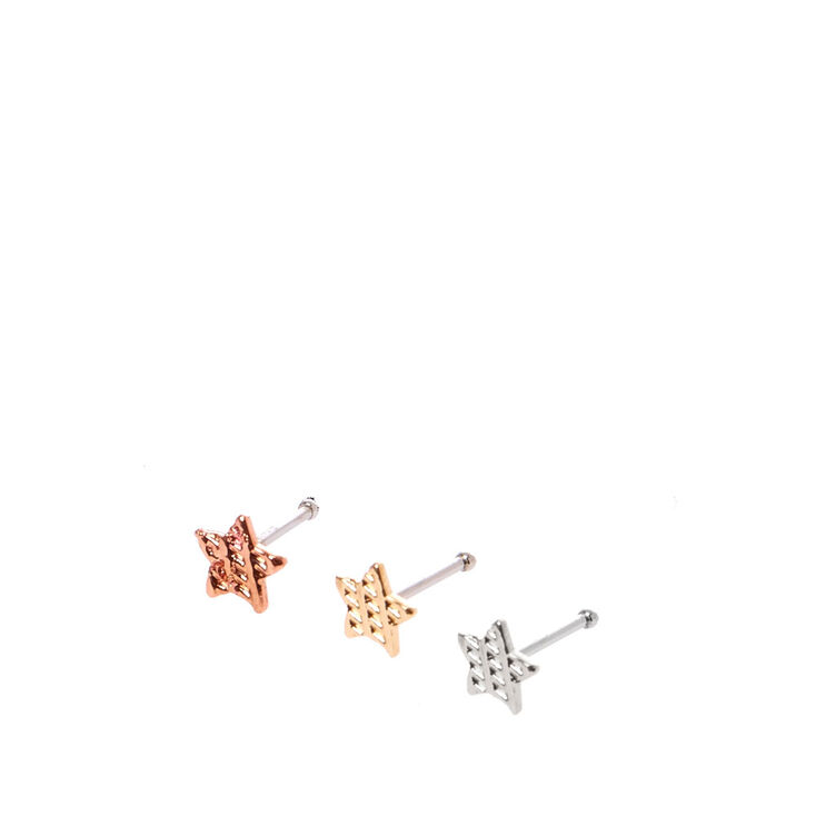 Mixed Metal Toned Star Nose Studs,