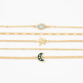 Gold Mystic Charm Chain Bracelets - 5 Pack,